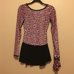 Pink Leopard Print Figure Skating Dress